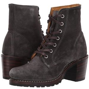 FRYE Sabrina 6G Lace Up Gray Suede Ankle Boots